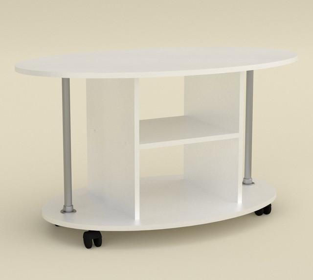Стол журнальный Грация белого цвета с металлическими опорами по краям