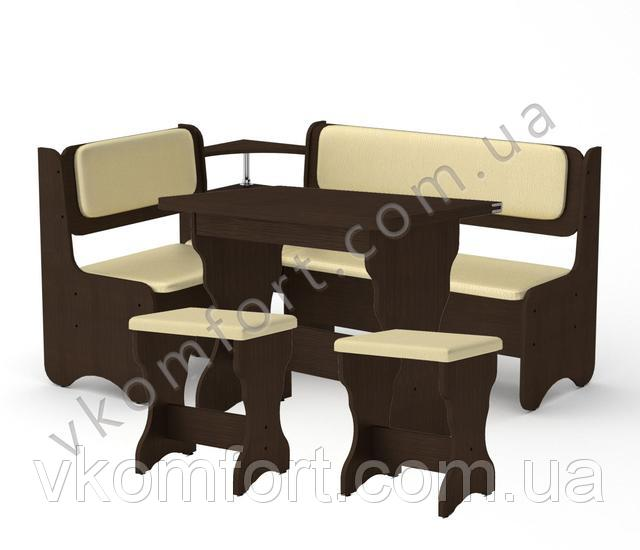 Кухонный уголок София с раскладным столом КС 3 и двумя мягкими табуретами