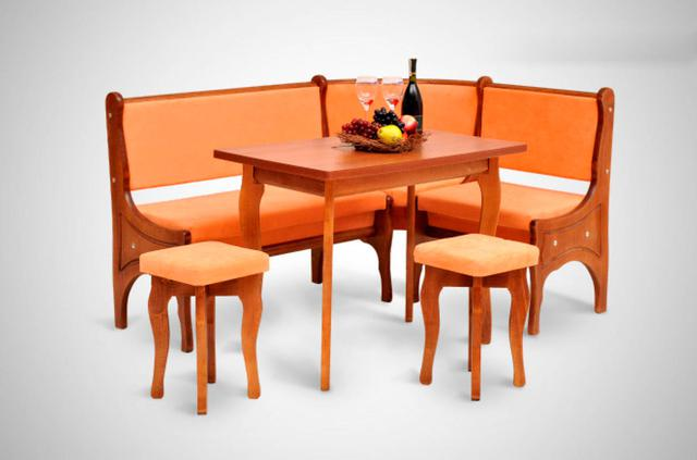 Кухонный уголок Виктор-3 со столом и двумя мягкими табуретами