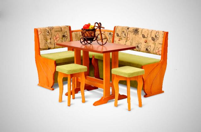 Кухонный уголок Виктор-6 со столом и двумя мягкими табуретами