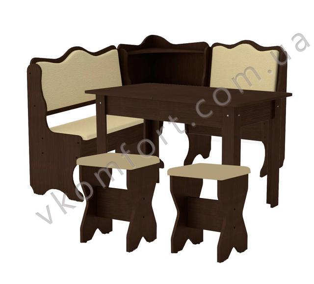 Кухонный уголок Дакар с раскладным столом и двумя мягкими табуретами