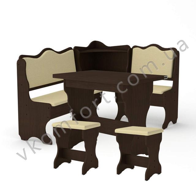 Кухонный уголок Дакар с раскладным столом КС 3 и двумя мягкими табуретами