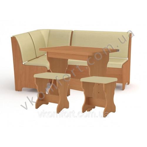 Кухонный уголок Тунис комплект (стол КС 3 раскладной+диван+2 табурета Т1)