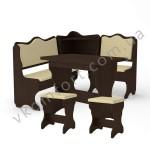 Кухонный уголок Дакар комплект (стол КС 3 раскладной+диван+2 табурета Т2) (код: 12264)
