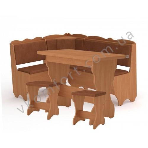 Кухонный уголок Родос комплект (стол КС 3 раскладной+диван+2 табурета Т1)
