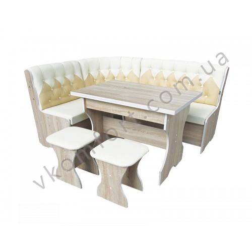 Кухонный уголок Мираж (диван, раскладной стол, 2 табурета), Лион