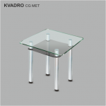 Стол обеденный стеклянный Квадро CG/мет (код: 10738)