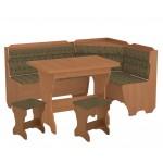 Кухонный уголок Корсика комплект (стол КС 3 раскладной+диван+2 табурета Т1) (код: 10806)